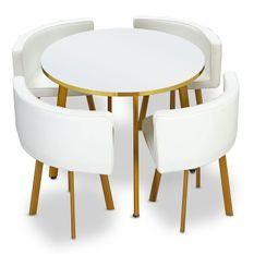 Table bois blanc et 4 chaises simili cuir pieds métal doré Gira