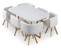 Table bois blanc et 6 chaises similicuir blanc Manda
