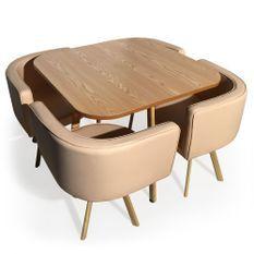 Table bois chêne clair et 4 chaises similicuir beige Paolo