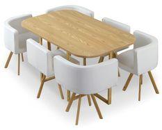 Table bois chêne clair et 6 chaises similicuir blanc Manda