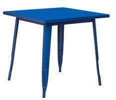 Table carrée acier brillant bleu marine Kontoir 80x80 cm