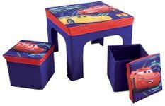 Table carrée et 2 tabourets de rangement Cars Disney