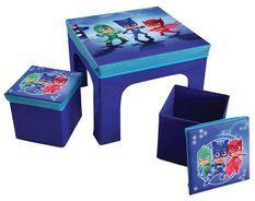 Table carrée et 2 tabourets de rangement Pyjamasques