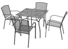 Table carrée et 4 chaises de jardin métal anthracite Brook