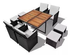 Table carrée et 4 chaises de jardin résine tressée noir Iris