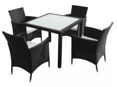 Table carrée et 4 chaises de jardin résine tressée noir Mik