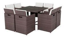 Table carrée et 8 chaises de jardin résine tressée marron Iris