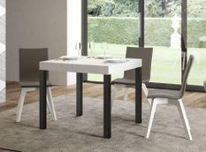 Table carrée extensible 4 à 12 personnes L 90 à 246 cm blanche et métal anthracite Evy