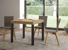 Table carrée extensible 4 à 12 personnes L 90 à 246 cm bois clair et métal anthracite Evy