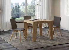 Table carrée extensible 4 à 12 personnes L 90 à 246 cm bois clair Naxo