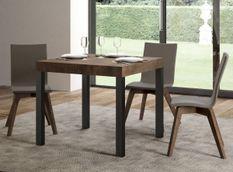 Table carrée extensible 4 à 12 personnes L 90 à 246 cm bois foncé et métal anthracite Evy