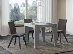 Table carrée extensible 4 à 12 personnes L 90 à 246 cm gris béton Naxo