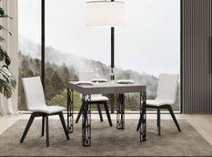 Table carrée extensible 4 à 12 places L 90 à 246 cm gris béton et pieds métal gris foncé Gisa
