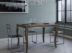 Table carrée extensible 4 à 6 personnes L 90 à 180 cm bois foncé et métal gris Ola slim
