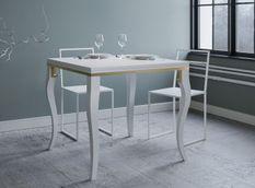 Table carrée extensible 4 à 6 personnes L 90 à 180 cm frêne blanc et métal doré Ola slim