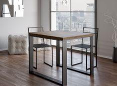 Table carrée extensible 4 à 6 places L 90 à 180 cm bois foncé et pieds métal anthracite Tiroz
