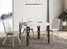 Table carrée extensible orientale 4 à 12 personnes L 90 à 246 cm frêne blanc et pieds métal anthracite Kazay