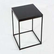 Table d'appoint bois et métal noirs Farid H 70 cm
