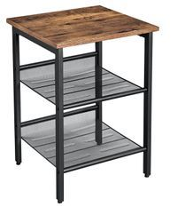 Table d'appoint bois vintage et maille métallique noir industriel