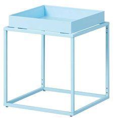 Table d'appoint carrée métal laqué bleu Bubble