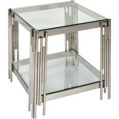 Table d'appoint carrée verre et pieds métal chromé Marwa