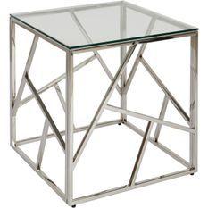 Table d'appoint carrée verre et pieds métal chromé Sally