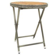 Table d'appoint de jardin acacia clair et résine grise Abee