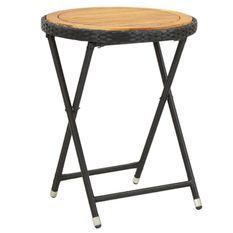 Table d'appoint de jardin acacia clair et résine noire Abee