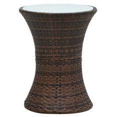 Table d'appoint de jardin ronde verre et résine marron Jaade