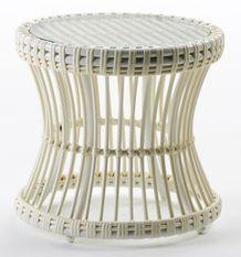Table d'appoint de jardin ronde verre et rotin synthétique blanc Leyla