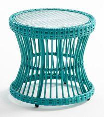 Table d'appoint de jardin ronde verre et rotin synthétique bleu Leyla