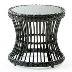 Table d'appoint de jardin ronde verre et rotin synthétique noir Leyla