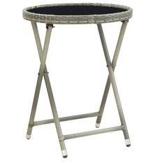 Table d'appoint de jardin verre noire et résine grise Abee