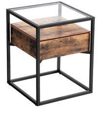 Table d'appoint design industriel verre et bois marron vintage Kaza 43 cm