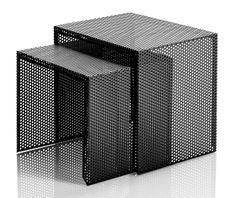 Table d'appoint gigogne métal noir mat Sayo - Lot de 2