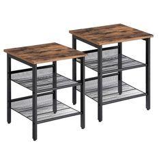 Table d'appoint industrielle avec étagères en métal treillis réglables - Lot de 2