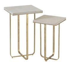 Table d'appoint manguier massif et métal doré Narsh - Lot de 2