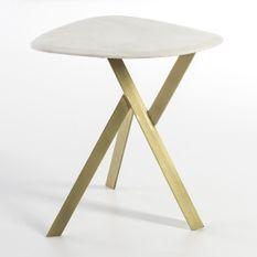 Table d'appoint marbre blanc et métal doré Sami