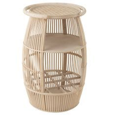 Table d'appoint ronde bois massif clair Corali