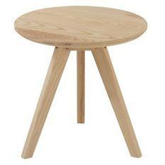 Table d'appoint ronde bois massif clair Praji H 45 cm