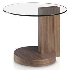 Table d'appoint ronde bois noyer et plateau verre trempé Lona