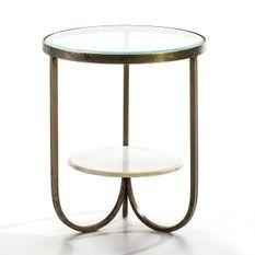 Table d'appoint ronde plateaux verre et marbre pieds métal doré Wanna