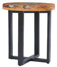 Table d'appoint ronde teck massif clair et manguier noir Tamie