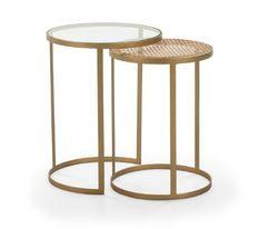 Table d'appoint ronde verre transparent rotin naturel et métal doré Brunie - Lot de 2