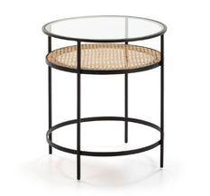 Table d'appoint ronde verre transparent rotin naturel et métal noir Brunie