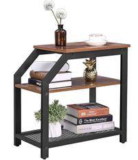 Table d'appoint 2 niveaux marron vintage style industriel Kaza 36 cm