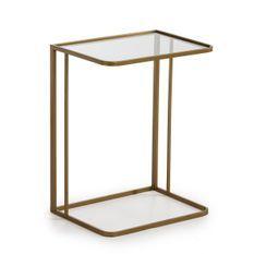 Table d'appoint verre transparent et métal doré Vera