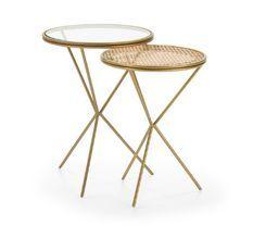 Table d'appoint verre transparent rotin naturel et métal doré Brunie - Lot de 2