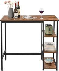 Table de bar 3 étagères industriel bois vintage et acier noir Kaza 109 cm