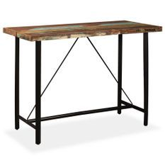 Table de bar bois reconditionné et pieds acier noir Unik 150
